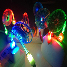1M/3FT Cute Smile Face LED Light V8 Micro USB Cable Sync Charger Cable For Samsung LG HTC Motorola Android Cell Phone Tablet