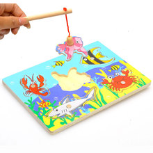 Baby Wooden Magnetic Fishing Game & Jigsaw Puzzle Board 3D Jigsaw Puzzle Children Education Toy juguetes educativos(China (Mainland))