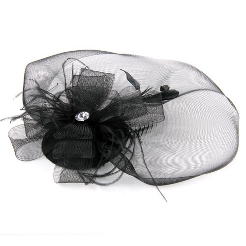 FS Hot Black Feather Veil Hair Clip Mini Top Hat Party Cosplay(China (Mainland))