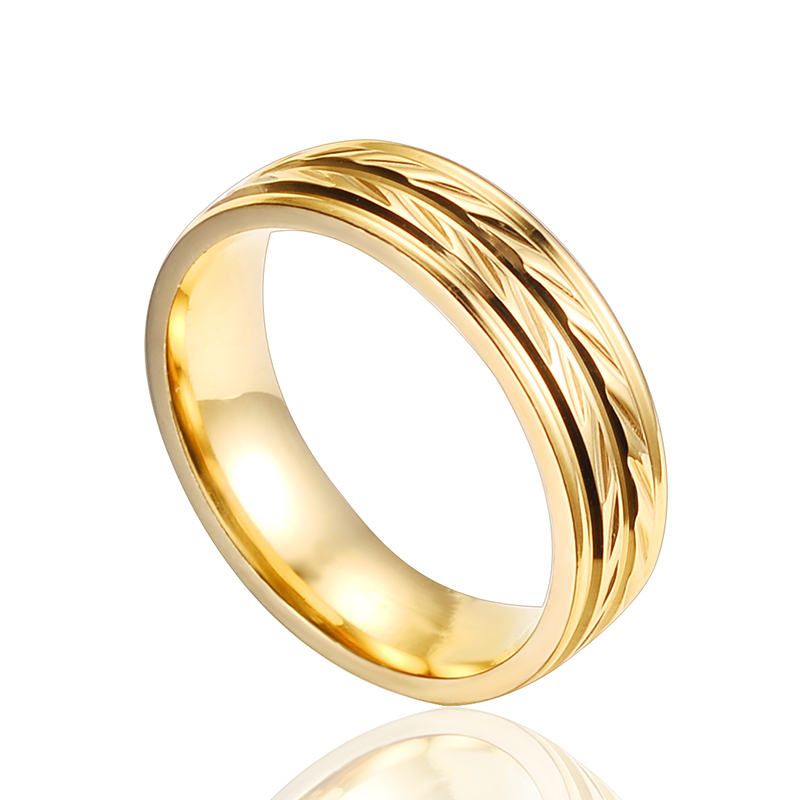 New Fashion Design Ring Exquisite Golden Carving Craft Stainless Steel Ring Size 7 8 9 10 11 Sale LM0051(China (Mainland))