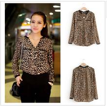2015 Women Blouse Leopard Print Shirt Long sleeve V -Neck Top Loose Blouses Plus Size Chiffon Shirt Camisa Feminina Clothing(China (Mainland))