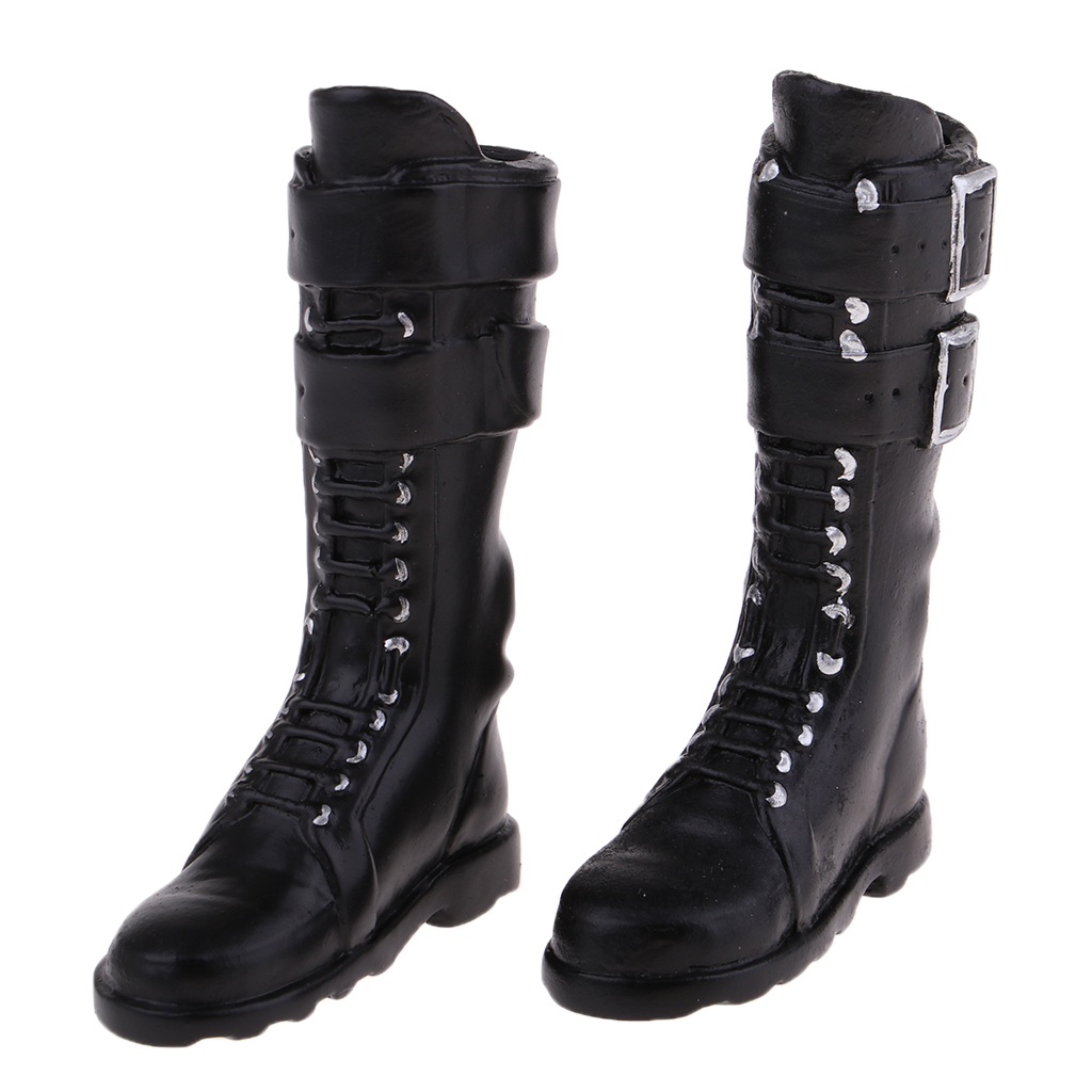 1/6 Scale Female Body Flat Heel Boots Knee Shoes PU for 12'' Hot Toys Sideshow Action Figure