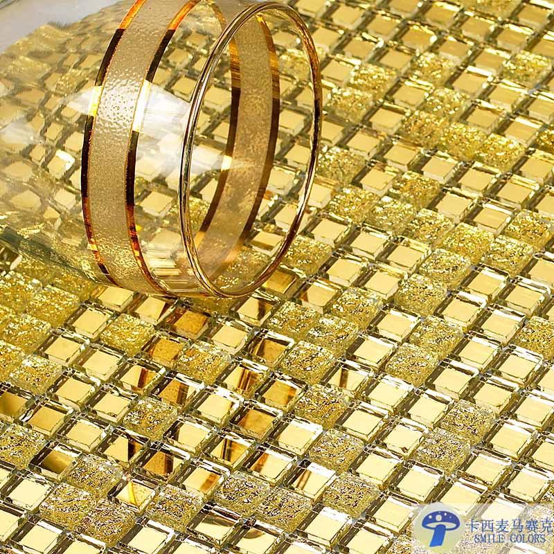 Сверкают Хрустальные плитки мозаики Казимира Золотой Кристалл золота стеклянная плитка КТВ ТВ фон Мозаика головоломка зеркальный Золотой фон наклейки
