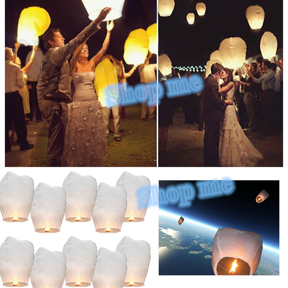 10pcs White Paper Chinese Lanterns paper Fire Sky Flying Candle Wish Lamp for Birthday Wish Party Wedding Decoration ideas(China (Mainland))