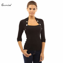 Gamiss Women Black Blouses and Shirt Long Sleeve Square Neck Woman Shirts Casual Pullover Bottons Tops Blusas Femininas(China (Mainland))