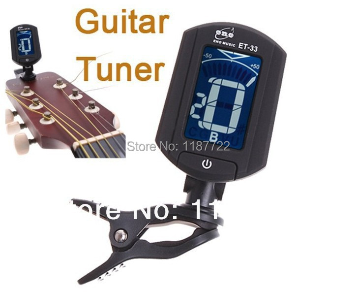 LCD Clip-on Electronic Digital Guitar Tuner Chromatic Bass Black Guitar Tuner ET-33 Guitar Accessories Free Shipping(China (Mainland))