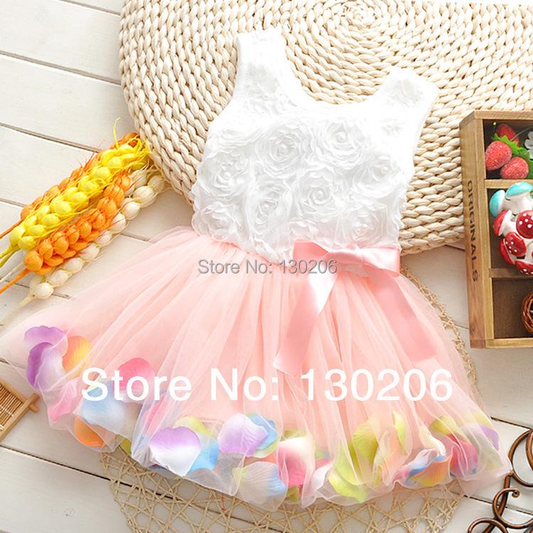 2015 Summer new style short-sleeved dress cute baby girls princess roses minidress beautiful fashion cartoon children dresses()