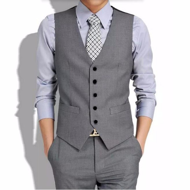 7.1Gray men waistcoat custom made groom wedding tuxedos vest high quality men formal business suits waistcoat