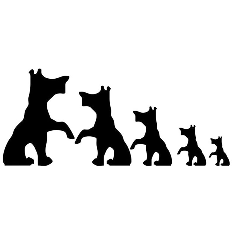 Hot Sale Set Of 5 Dog Family Car Sticker For Truck Window Bumper Auto SUV Door Kayak Vinyl Decal 8 Colors(China (Mainland))