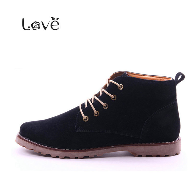 2015 Autumn Fashion Nubuck Leather Men Boots Flat Ankle Boots Casual Skate Shoes Mens Shoes High Oxford Size 39-44 Botas DX174