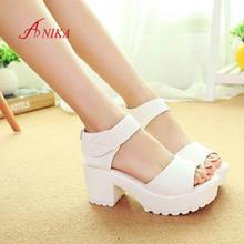 2015 Women Summer shoes white Black fashion platform soft PU sandals women's high-heeled shoes thick heel sandals free shipping(China (Mainland))