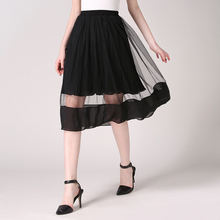 Elegant Women Spring Mesh Chiffon Skirt 2016 Summer High Waist Patchwork Double-Deck Skirts Gray Black White Faldas Largas