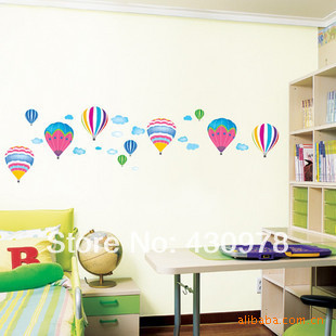 QZ1138 Free Shipping Colorful Hot Air Ballone Blue Sky Cloud Removable PVC Wall Stickers Fancy Home Decoration Gift(China (Mainland))