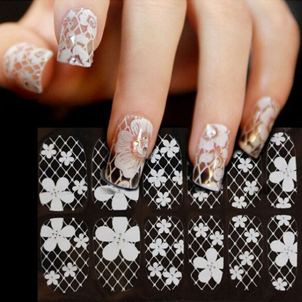 Wholesale Newly Design White Flower Plaid Diamond Nail Stickers Nail ...