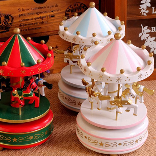 Vintage Blue Wooden Merry-Go-Round Carousel Music Box Kids Children Girls Christmas Birthday Gift Toy(China (Mainland))
