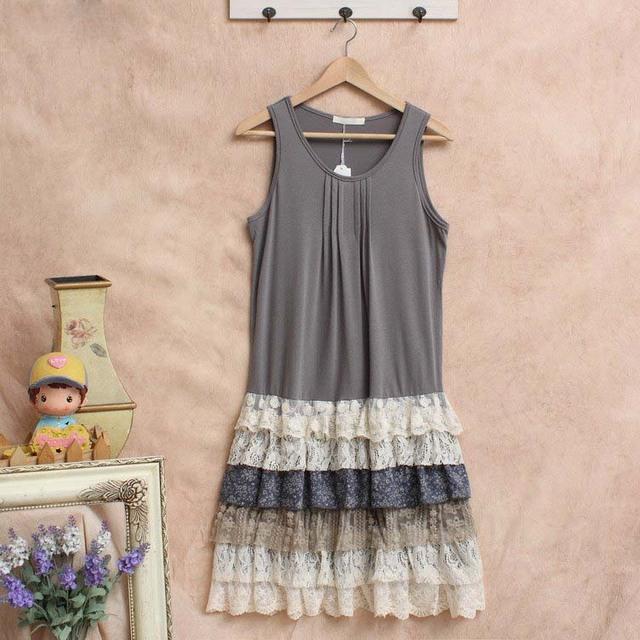 Роковой tunique harajuku вязание белье vestido мори девушка кружева рюшами лолита хиппи boho богемского женщины летнее платье