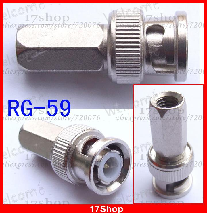 100PC BNC MALE TO RG 59 CONNECTORS COAXIAL CCTV cameras(China (Mainland))