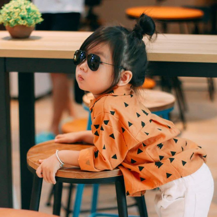 2016 Girls boys clothes Children spring autumn fashion blouses Water washing cotton overshirt kids triangle printing casual tops