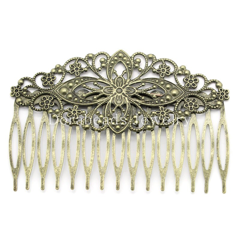 Hair Clips Comb Shape Flower Antique Bronze Hollow 8.1x5.5cm,10PCs (B23892), yiwu(China (Mainland))