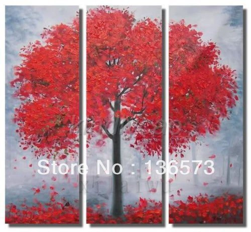 Wall Art Red Leaves : Handmade large painting canvas modern abstract panel