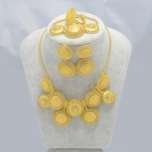 African Set Jewelry 24k Gold Plated Necklace/Earrings/Ring/Bracelet Ethiopian/Eritrea/Nigeria/Congo/Uganda/Brazil/Algeria/Sudan(China (Mainland))