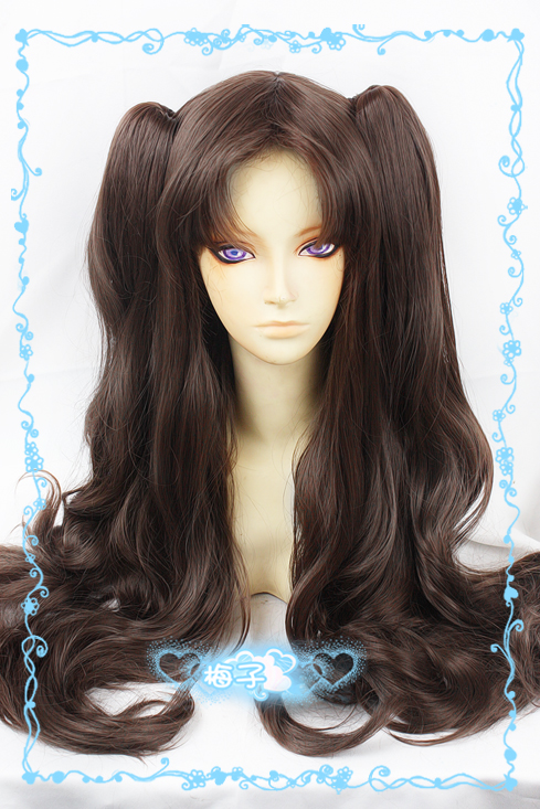 Fate/Stay Night Tohsaka Rin Cosplay Wigs Women Girl Full Lace Long Curly Wavy Hair Brown Ponytail Wigs Without Headwear
