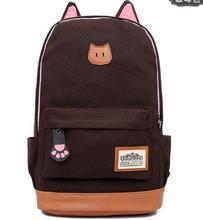 Fashion New Promotion canvas the cat ears men's and women backpack Korean version shoulder bag rucksack schoolbag mochila(China (Mainland))
