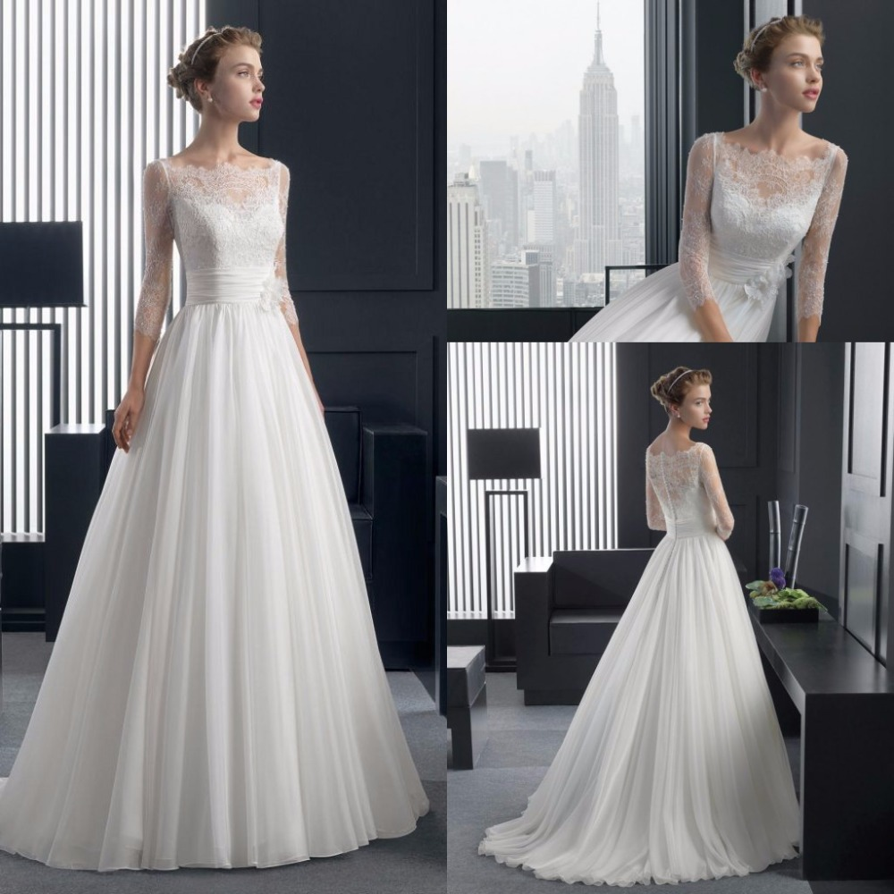 Plus Size Wedding Dresses 3 4 Sleeve : Aliexpress buy a line elegant wedding dress lace