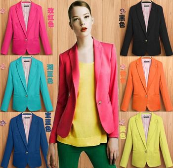 Hot Blazer Women New 2015 Candy Color Jackets Suit Slim yards Ladies Blazers Work Wear Jacket