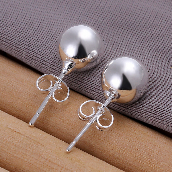 Promotions Wholesale Simple 925 silver ball stud earring fashion jewelry 8 mm Bead earring For Women ED2521(China (Mainland))
