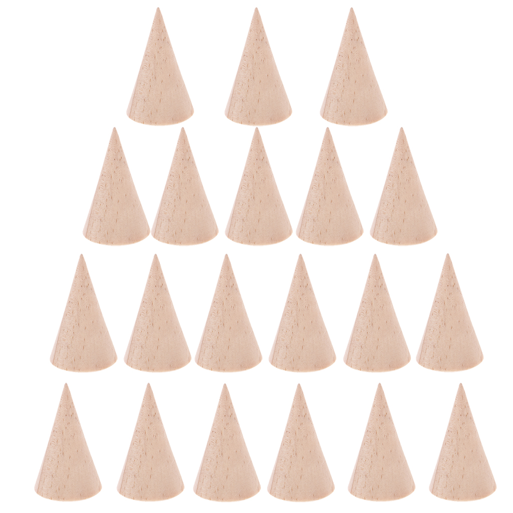 20 Pieces Wholesale Unpainted Cone Shape Natural Wooden Rack for Ring Jewelry Display Holder 3 x 5 cm