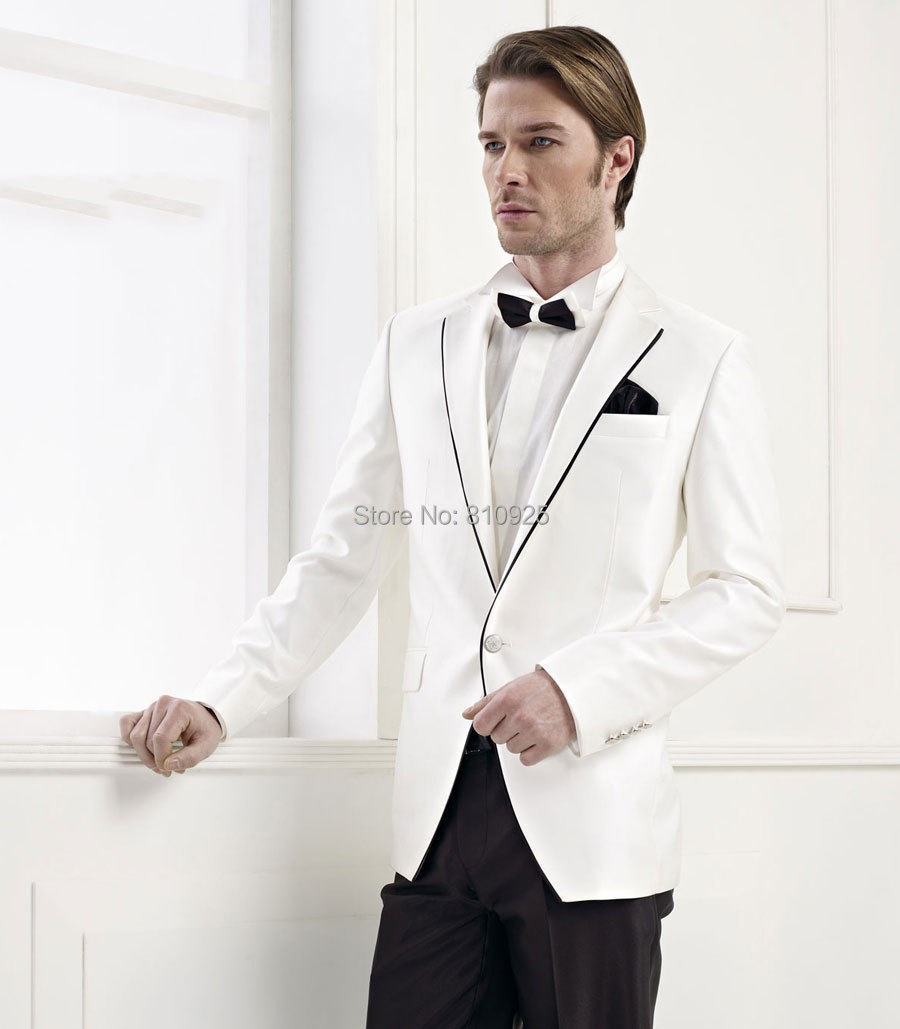 white tuxedo jacket black lapel mens suits wedding groom wear custom made 2015 - yan xiong's store