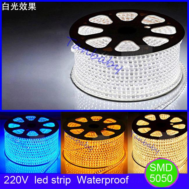 Free shipping 220V led strip waterproof flexible strip bar light 60led/M 5M with EU plug outdoor garden decoration<br><br>Aliexpress