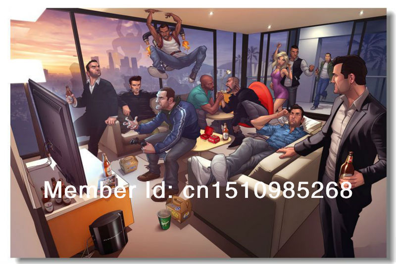 Free shipping FC068GJ Grand Theft Auto 5 V Game Silk Poster Boy Room 3 4 GTA GTA5 Wall Decor 24x36 inch.(China (Mainland))