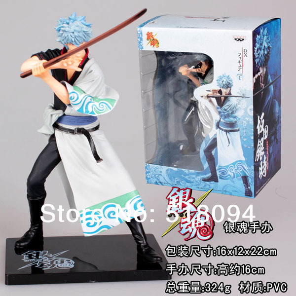 Free Shipping font b Anime b font Silver Soul Sakata Gintoki PVC Action Figure Collextion Model