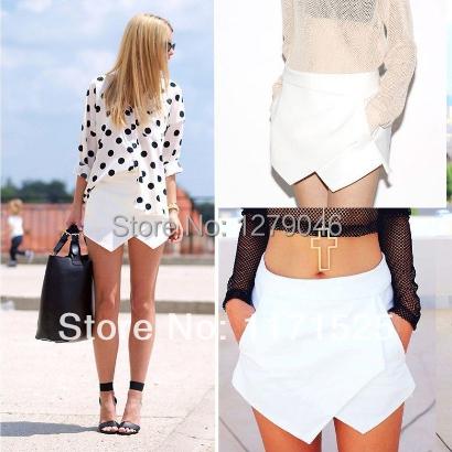 2015 New Sexy Womens Wrap Mini Summer Short Skort Skirt OL Pattern Culottes Irregular Laminated Flanging Casual Shorts(China (Mainland))