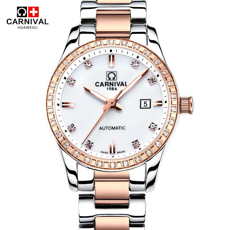 CARNIVALSwitzerland watches men luxury brand ladies automatic mechanical watches fashion rose gold luminous relogio feminino<br><br>Aliexpress