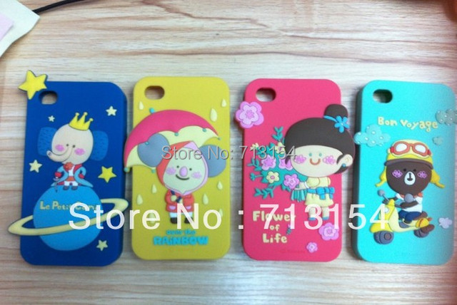 Forest Series soft  Cellphone Cover Cases cartoon 3D 4TH GEN Fashion Forest Family Romania case For iphone 4 4S free shipping