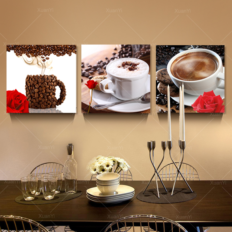 3 Panel Abstract Printed Stil Life Coffee Painting Canvas Art Picture Cuadros Decoracion Kitchen Paintings Unframed PR046(China (Mainland))