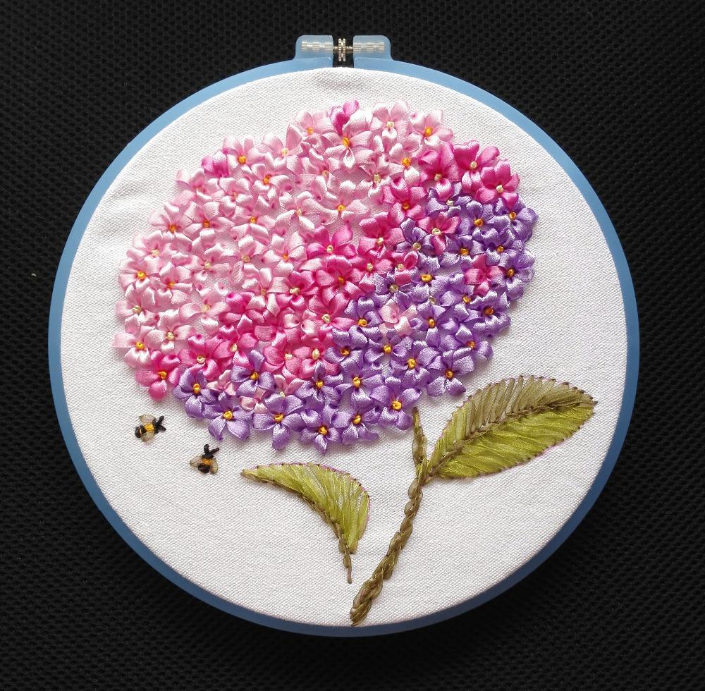 Purple Flower Hydrangea Ribbon embroidery kit embroidery circle hoop handcraft stitch DIY handmade needlework wall art plus(China (Mainland))