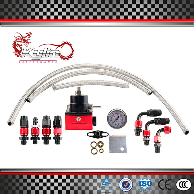 kylin racing Universal Rubber hose and gauge Fuel Pressure Regulator Oil Cooler Kit