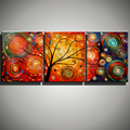 Abstract life tree 3 piece canvas wall art acrylic hand painted canvas oil painting decorative pictures