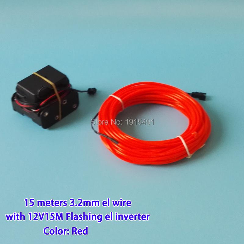 Hot 3.2mm 15Meters Optional Blinking EL Wire LED Strip Flexible Neon ...