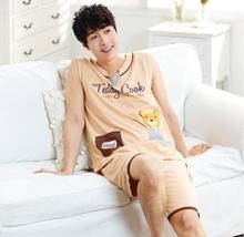 Lovely Bear Couples Pajama Sets 100% Cotton Vest Summer Lovers Pajamas Casual Sleeveless Comfortable Lounge Male Nightgrown(China (Mainland))