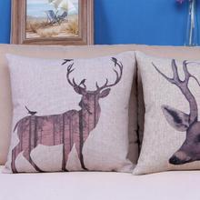 Free Shipping New 2014 Elk Series Cotton Pillow Love Deer Lutou Bird Quality Bedroom Car Cushion Home Decoration 45*45cm(China (Mainland))