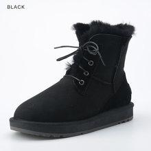 INOE moda koyun derisi süet deri yün kürk astarlı kadın rahat kısa ayak bileği kış çizmeler bayanlar Lace Up kar botları ayakkabı(China)