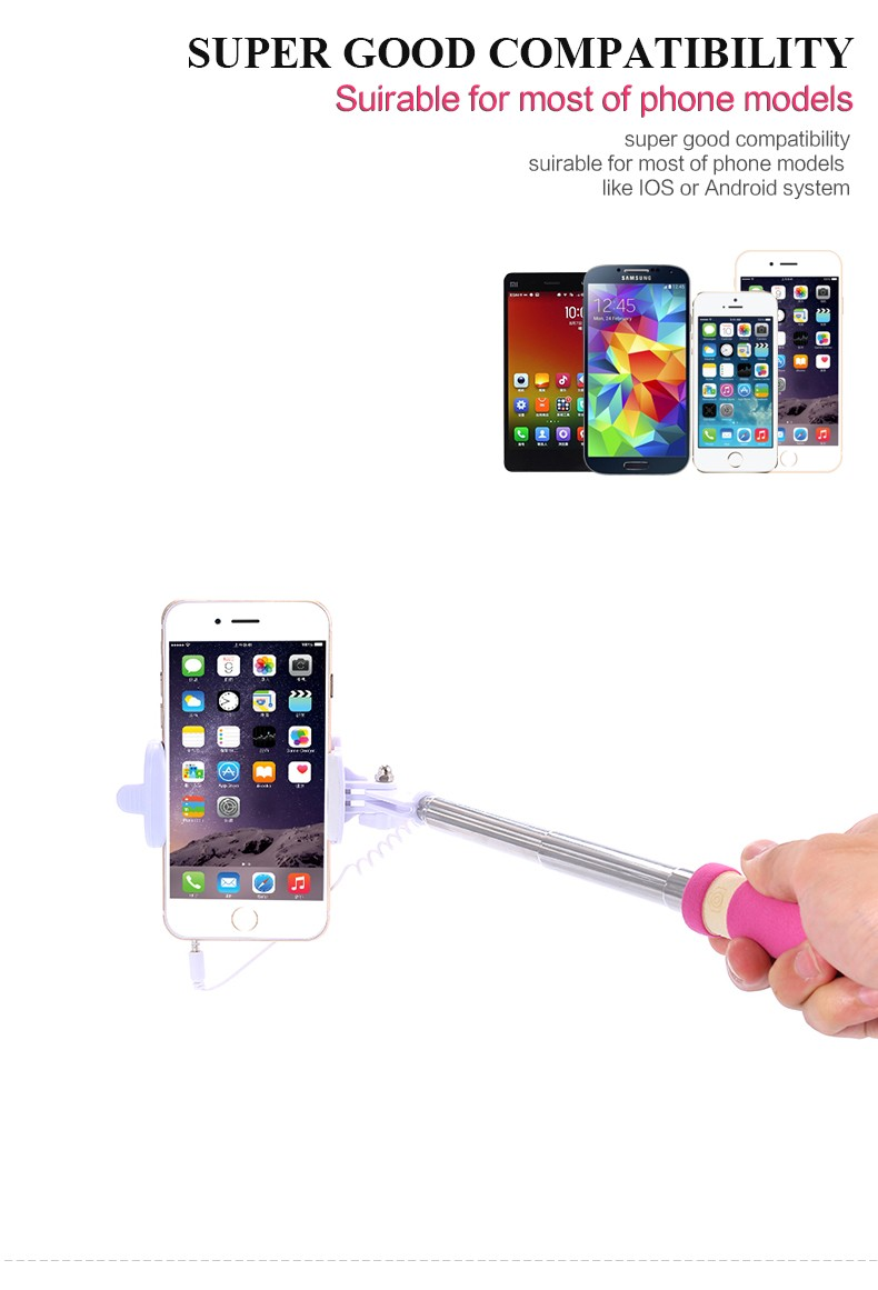 image for Mobile Phone Mini Selfie Stick Extendable Portable Monopod Tripod For