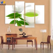 Buy Wall Art 4 Piece Canvas Kitchen Modern Wall Green Tea Painting Home Art Picture Paint Canvas Prints Decor Cuadros De Lienzo for $8.40 in AliExpress store