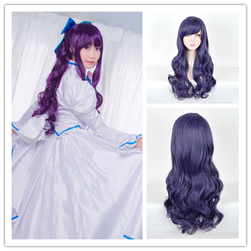 80cm Love Live Nozomi Tojo Anime Cosplay Women Wig Dark Purple Long Wavy Kinky Wavy Cheap Synthetic Hair Party Wigs With Bang(China (Mainland))