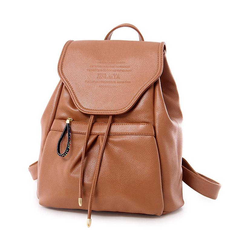 2016 New Fashion Girls Backpack Women  PU Leather School bag Women Casual Style  Women Bag Mochila Feminina STA8900 Brown<br><br>Aliexpress
